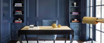 painting your office walls navy blue is a bold move navy is a dark color which can quickly overpower the room especially if its on the smaller side blue office walls
