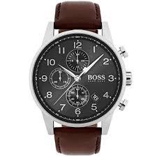 boss navigator classic men chronograph watch brand quartz fashion leather wrist 1513496