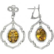 <b>Серьги с гиацинтами и</b> бриллиантами из белого золота 750 ...