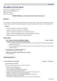 electrical engineer resume sample resume objective examples resume chemical engineer resume chemical engineer page of r e s u m e resume format for chemical engineer