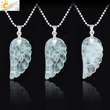 CSJA Green Fluorite <b>Jewelry Natural Stone Carved</b> Angel Wing ...