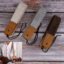 <b>1PC</b> Guitar Straps <b>Linen Cotton</b> ukulele strap <b>Adjustable</b> Leather ...