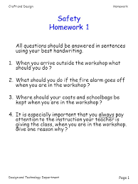 Craft and DesignHomework Design and Technology Department Page   Safety Homework   All questions should be SlidePlayer