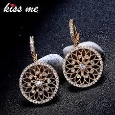 KISS ME Women Earrings Gold Color Copper <b>Zircon Hollowed</b> ...