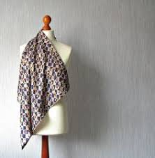 Acetate rayon scarf square foulard <b>retro style</b>, echarpes, Floral hand ...