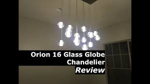 Orion 16 light <b>Glass Globe</b> Rectangular <b>LED Chandelier Lighting</b> ...