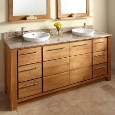 dual vanity bathroom: quot venica teak double vanity for semi recessed sinks double sink vanities