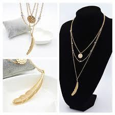 USA -<b>Fashion Multi Layer</b> Necklace Big Feather <b>Round sequins</b> ...