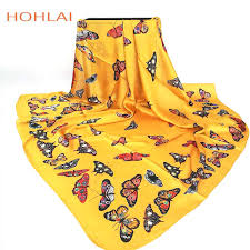 Fashion <b>Women Scarf Luxury</b> Brand yellow butterfly Hijab <b>Silk</b> Satin ...