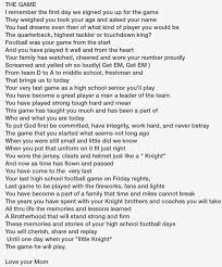 football poem for my son senior year football football poem for my son senior year