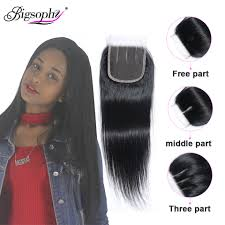 <b>Bigsophy Brazilian hair</b> straight closure100% Human <b>Hair</b> 8-22 Inch ...
