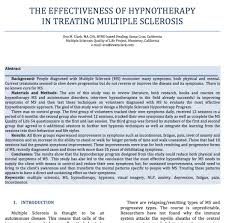 research hypnosis for ms ms study the effectiveness of hypnotherapy in treating multiple sclerosis