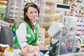 portrait of s assistant or cashdesk worker in supermarket portrait of s assistant or cashdesk worker in supermarket store stock photo 22844733