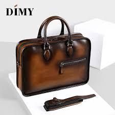 <b>DIMY</b> Vintage Handmade Italian <b>Genuine Leather</b> Briefcase Men ...