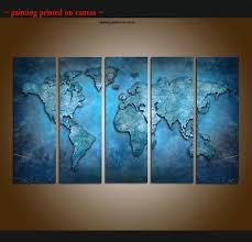 <b>Framed</b> Home Decor <b>HD</b> Prints Painting Wall Art World Map Blue ...