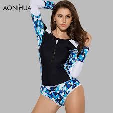<b>AONIHUA</b> 2018 <b>Geometric</b> Design front zipper <b>Swimsuit</b> for <b>Women</b> ...