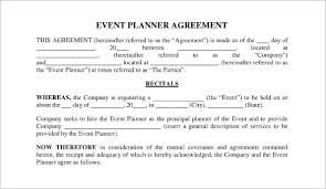 event planner contract agreement form event planning contract templates