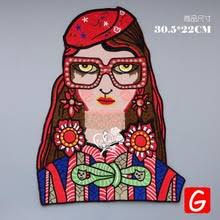 <b>GUGUTREE embroidery big</b> glasses girl patches woman badges ...