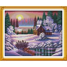 <b>Everlasting love</b> Dusk <b>snow</b> covered landscape Chinese cross stitch ...