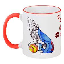 <b>Кружка</b> с цветной ручкой и ободком Сказрочный волк #447951 в ...