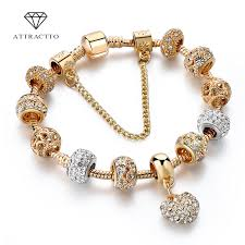 ATTRACTTO <b>Luxury Crystal</b> Heart <b>Charm</b> Bracelets&Bangles Gold ...