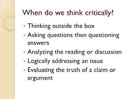 Critical thinking the art of argument   College Writings  amp  A