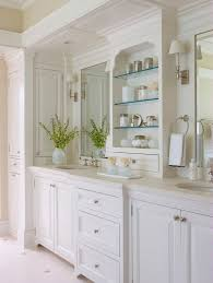 classic informality inspiration for a timeless bathroom remodel in new york with raised panel cabinets and simple designer bathroom vanity cabinets