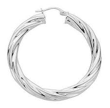 Sterling Silver <b>925</b> Polished 35mm Twisted Hollow Hoop Earrings ...