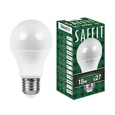 <b>Лампа Saffit E27 A60</b> 15Вт 4000K — купить по выгодной цене на ...