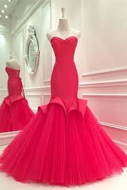 <b>Hot</b> pink <b>tulle sweetheart mermaid</b> long prom dresses for teens ...