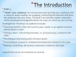 "writing the essay your topic is to choose between the following  step   ""hook"" your audience an introduction must provide your"