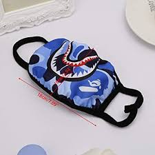 NF orange 3 Pack Shark <b>Black</b> Red Blue <b>Mouth Face</b> Mask <b>Cotton</b> ...