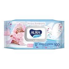 Влажные салфетки детские Aura Ultra <b>Comfort</b> 100 штук в ...