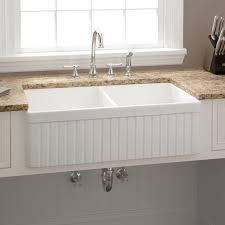 33 baldwin double bowl fireclay farmhouse sink fluted apron white apron kitchen sink kitchen
