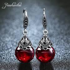 <b>JIASHUNTAI Retro 100</b>% <b>925</b> Sterling Silver Round Garnet Drop ...