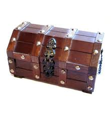 Set of <b>2 Wooden Treasure Chests</b> Rustic Vintage Antique Jewellery ...