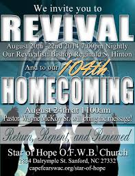 revival at star of hope o f w b church original cape fear revival and homecoming flyer