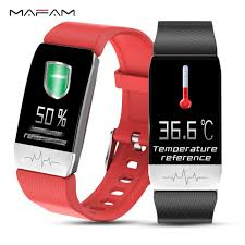 <b>NEW T1 Smart Watch</b> Band Temperature Measure ECG Heart Rate ...
