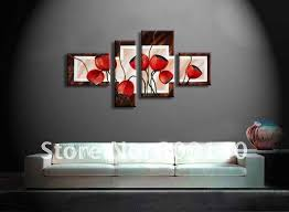 free shipping abstract oil painting canvas red flower high quality handmade home decoration office wall art decor handicrafts artwork for office walls