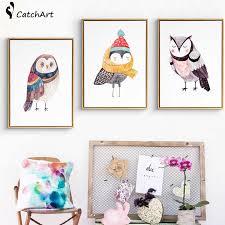<b>Cute Cartoon Animals</b> Oil Paintings <b>Owl</b> Canvas Art DIY Posters Pop ...
