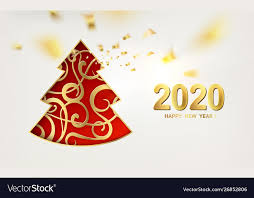 Merry christmas and happy new year 2020 card with Vector Image