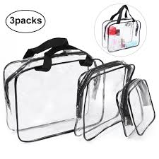 3 Pcs Clear <b>PVC Cosmetic</b> Bags <b>Waterproof Makeup</b> Bags Travel ...