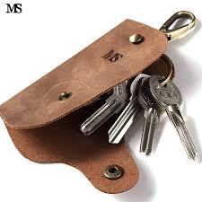 MS Trend Men Vintage Crazy Horse <b>Genuine Leather Car Key</b> Case ...
