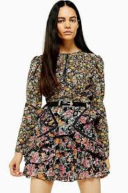 AUSTIN <b>Floral Print Long Sleeve</b> Tea Top | Topshop