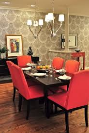 red fabric dining chair chairs room