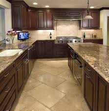 travertine kitchen stone floor