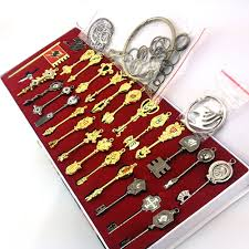 <b>29pcs</b>/<b>set</b> Fairy Tail Lucy Cosplay Key Keychain Scale & Free Pink ...