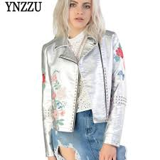 2019 <b>YNZZU</b> Floral Embroidery Band Women Leather Jackets 2017 ...