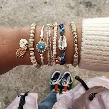 6 <b>Pcs</b>/<b>Set</b> Beads Strand Fatima Hand <b>Charm</b> Bracelet Set for ...