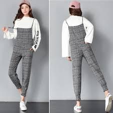 『YOYO』<b>Autumn Winter Women Loose</b> Casual Plaid Gallus Trousers ...